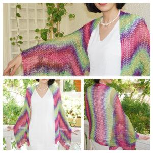 Green purple fuchsia shawl