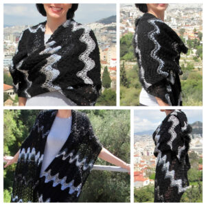 Black silver grey shawl