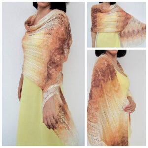 Beige, ecru, brown shawl